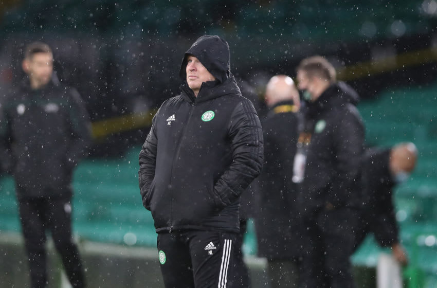 GLASGOW, SCOTLAND - DECEMBER 10: Neil Lennon, Manager of Celtic looks on during the UEFA Europa League Group H stage match between Celtic and LOSC Lille at Celtic Park on December 10, 2020 in Glasgow, Scotland. The match will be played without fans, behind closed doors as a Covid-19 precaution. (Photo by Ian MacNicol/Getty Images)