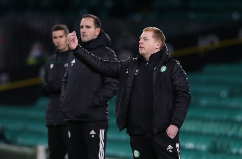 GLASGOW, SCOTLAND - DECEMBER 10: Neil Lennon, Manager of Celtic gives their team instructions during the UEFA Europa League Group H stage match between Celtic and LOSC Lille at Celtic Park on December 10, 2020 in Glasgow, Scotland. The match will be played without fans, behind closed doors as a Covid-19 precaution. (Photo by Ian MacNicol/Getty Images)