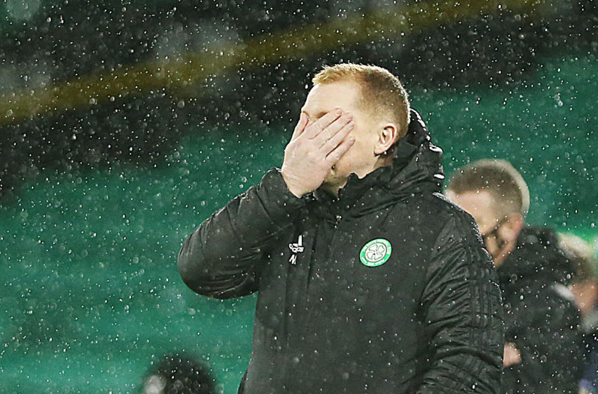 GLASGOW, SCOTLAND - DECEMBER 13: Celtic manager Neil Lennon reacts during the Ladbrokes Scottish Premiership match between Celtic and Kilmarnock at Celtic Park on December 13, 2020 in Glasgow, Scotland. The match will be played without fans, behind closed doors as a Covid-19 precaution. (Photo by Ian MacNicol/Getty Images)