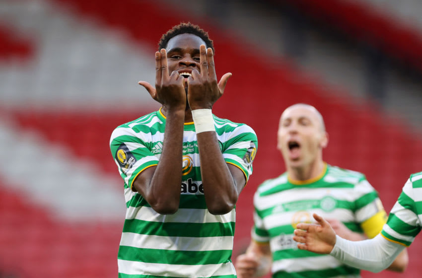 GLASGOW, SCOTLAND - DECEMBER 20: Odsonne Edouard of Celtic celebrates after scoring their sides second goal during the William Hill Scottish Cup final match between Celtic and Heart of Midlothian at Hampden Park National Stadium on December 20, 2020 in Glasgow, Scotland. The match will be played without fans, behind closed doors as a Covid-19 precaution. Players of Hearts will wear the number 26 on their shorts as a tribute to Ex-Hearts player Marius Zaliukas who past away earlier in the week. (Photo by Ian MacNicol/Getty Images)