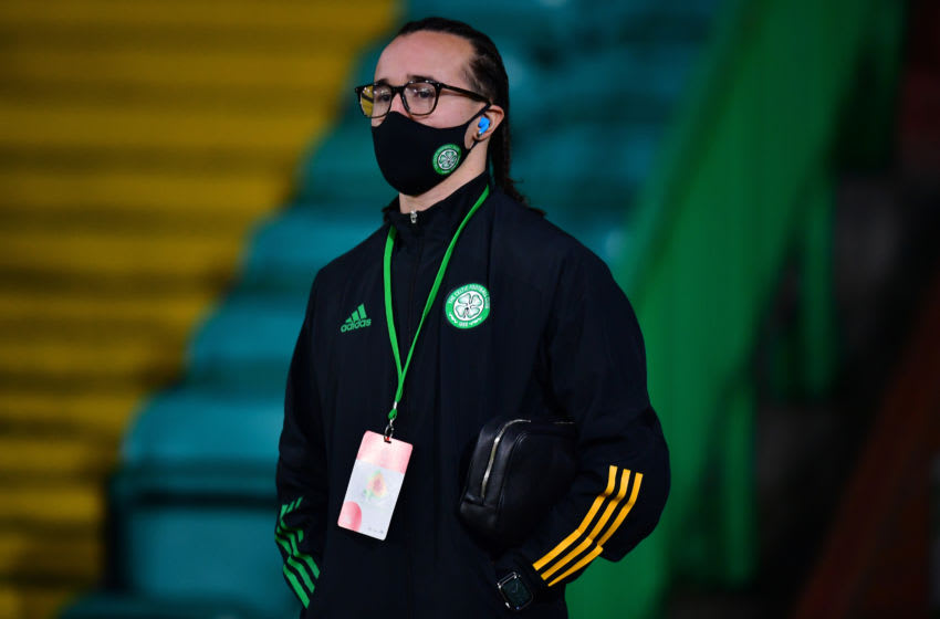 GLASGOW, SCOTLAND - DECEMBER 23: Diego Laxalt of Celtic is seen wearing a face mask as he arrives at the stadium ahead of the Ladbrokes Scottish Premiership match between Celtic and Ross County at Celtic Park on December 23, 2020 in Glasgow, Scotland. The match will be played without fans, behind closed doors as a Covid-19 precaution. (Photo by Mark Runnacles/Getty Images)