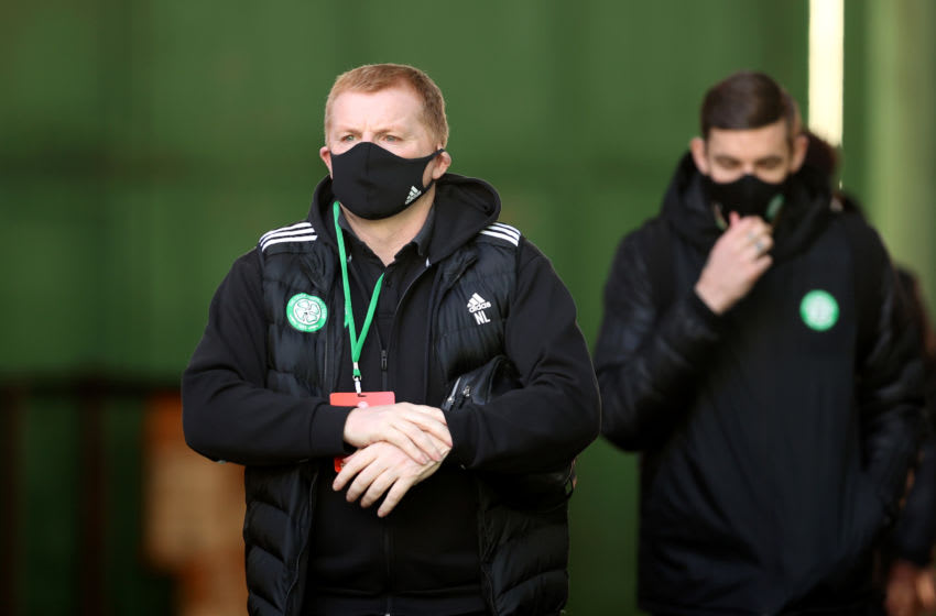GLASGOW, SCOTLAND - DECEMBER 30: Celtic Manager, Neil Lennon arrives prior to the Ladbrokes Scottish Premiership match between Celtic and Dundee United at Celtic Park on December 30, 2020 in Glasgow, Scotland. The match will be played without fans, behind closed doors as a Covid-19 precaution. (Photo by Ian MacNicol/Getty Images)