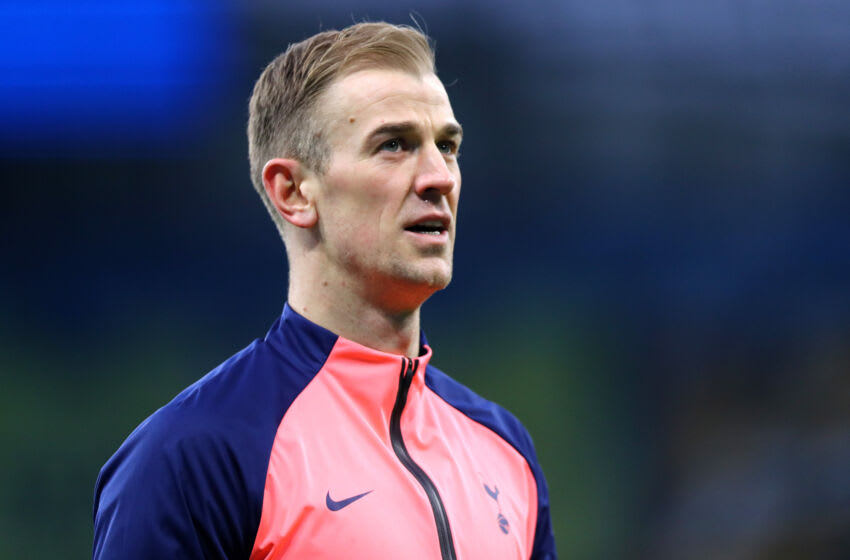 MANCHESTER, ENGLAND - FEBRUARY 13: Joe Hart of Tottenham Hotspur warms up ahead of the Premier League match between Manchester City and Tottenham Hotspur at Etihad Stadium on February 13, 2021 in Manchester, England. Sporting stadiums around the UK remain under strict restrictions due to the Coronavirus Pandemic as Government social distancing laws prohibit fans inside venues resulting in games being played behind closed doors. (Photo by Chloe Knott - Danehouse/Getty Images)