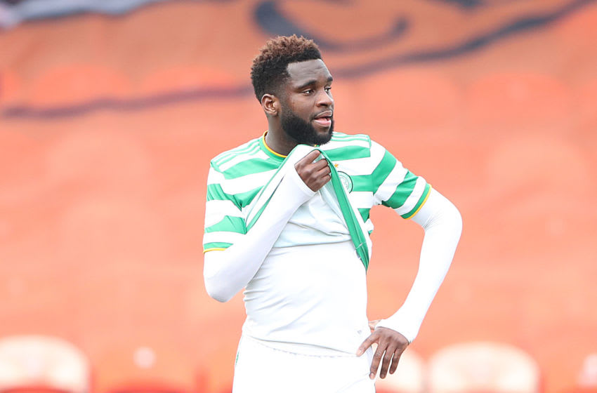 DUNDEE, SCOTLAND - MARCH 07: A dejected Odsonne Edouard of Celtic is seen at full time during the Ladbrokes Premiership match between Dundee United and Celtic at Tannadice Park on March 07, 2021 in Dundee, Scotland. Sporting stadiums around the UK remain under strict restrictions due to the Coronavirus Pandemic as Government social distancing laws prohibit fans inside venues resulting in games being played behind closed doors. (Photo by Ian MacNicol/Getty Images)