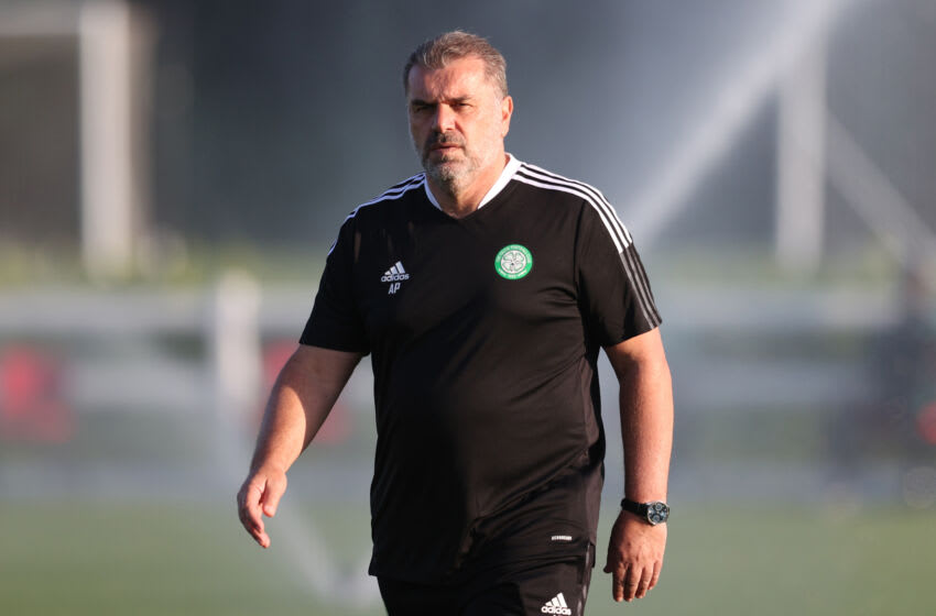 BRISTOL, ENGLAND - JULY 13: Ange Postecoglou manager of Celtic during the Pre-Season Friendly match between Bristol City and Celtic at The Robins High Performance Centre on July 13, 2021 in Bristol, England. (Photo by Catherine Ivill/Getty Images)