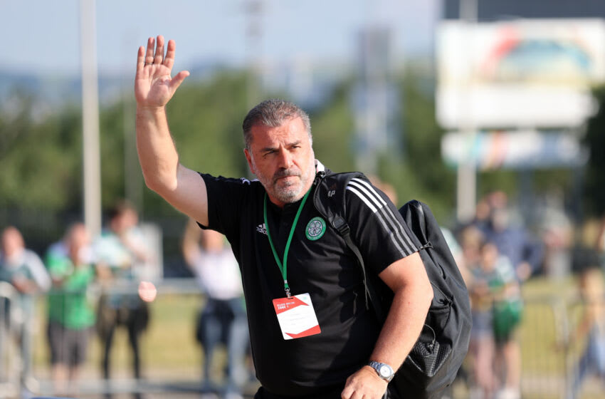 GLASGOW, SCOTLAND - JULY 20: Ange Postecoglou manager of Celtic ahead of the UEFA Champions League Second Qualifying Round First Leg between Celtic and FC Midtjylland at Celtic Park on July 20, 2021 in Glasgow, Scotland. (Photo by Steve Welsh/Getty Images)