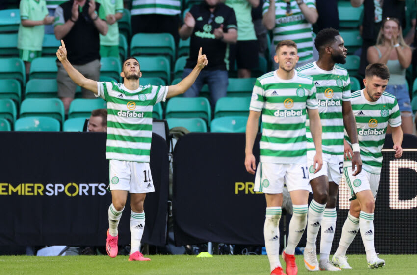 GLASGOW, SCOTLAND - JULY 20: Liel Abada of Celtic celebrates scoring the first goal during the UEFA Champions League Second Qualifying Round First Leg between Celtic and FC Midtjylland at Celtic Park on July 20, 2021 in Glasgow, Scotland. (Photo by Steve Welsh/Getty Images)