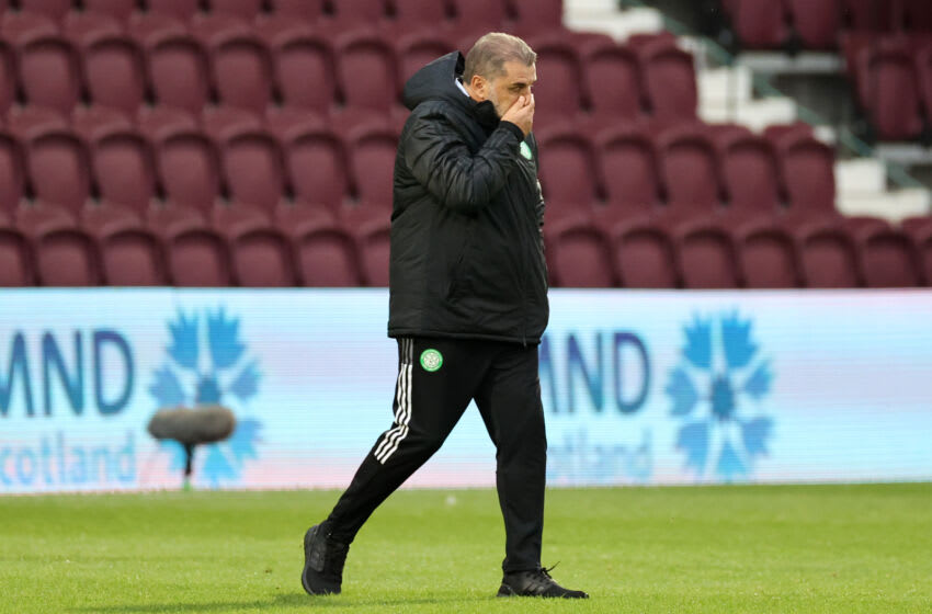 EDINBURGH, SCOTLAND - JULY 31: Ange Postecoglou, Head Coach of Celtic reacts as he walks off at half time during the Ladbrokes Scottish Premiership match between Heart of Midlothian and Celtic at Tynecastle Park on July 31, 2021 in Edinburgh, Scotland. (Photo by Steve Welsh/Getty Images)