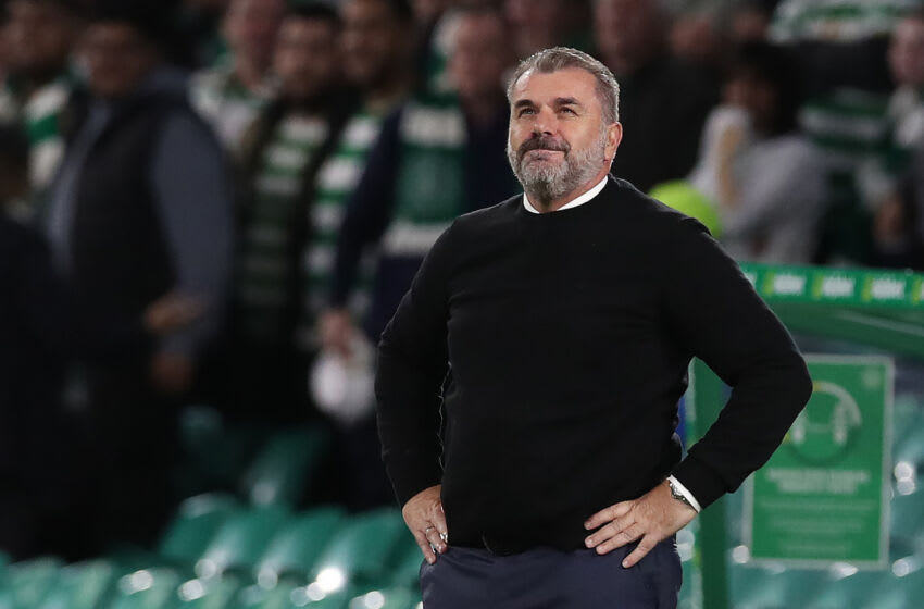 GLASGOW, SCOTLAND - AUGUST 18: Celtic manager Angelos Postecoglou is seen during the UEFA Europa League Play-Offs Leg One match between Celtic FC and AZ Alkmaar at on August 18, 2021 in Glasgow, Scotland. (Photo by Ian MacNicol/Getty Images)