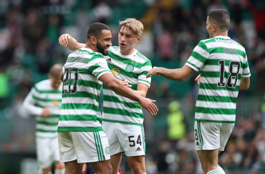 GLASGOW, SCOTLAND - SEPTEMBER 11: Cameron Carter-Vickers of Celtic celebrates scoring the opening goal with Adam Montgomery during the Cinch Scottish Premiership match between Celtic FC and Ross County FC at on September 11, 2021 in Glasgow, Scotland. (Photo by Ian MacNicol/Getty Images)