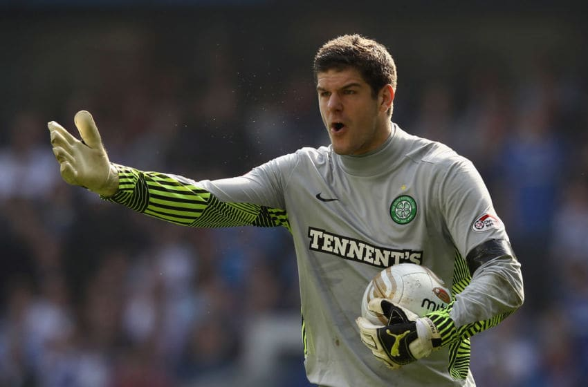 GLASGOW, SCOTLAND - MARCH 25: Fraser Forster of Celtic reacts during the Clydesdale Bank Scottish Premier League match between Rangers and Celtic at Ibrox Stadium on March 25, 2012 in Glasgow, Scotland. (Photo by Ian Walton/Getty Images)
