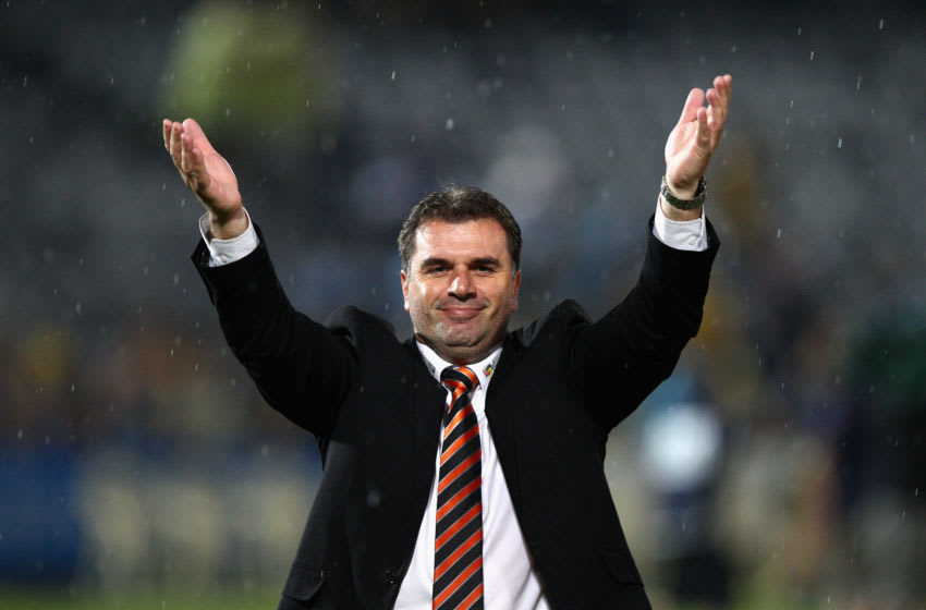 GOSFORD, AUSTRALIA - APRIL 08: Ange Postecoglou, manager of the Roar, celebrates after the A-League Semi Final 2nd Leg match between the Central Coast Mariners and the Brisbane Roar at Bluetongue Stadium on April 8, 2012 in Gosford, Australia. (Photo by Ryan Pierse/Getty Images)