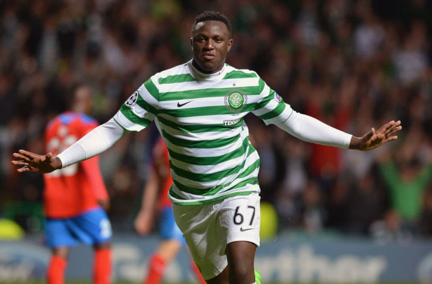 GLASGOW, SCOTLAND - AUGUST 29: Victor Wanyama of Celtic celebrates after scoring the 2nd goal during the UEFA Champions League Play Off Round between Celtic and Helsingborgs IF at Celtic Park on August 29, 2012 in Glasgow, Scotland. (Photo by Jeff J Mitchell/Getty Images)