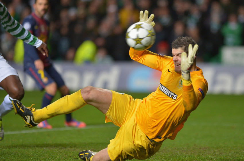 GLASGOW, SCOTLAND - NOVEMBER 07: Fraser Forster of Celtic in action during the UEFA Champions League Group G match between Celtic and Barcelona at Celtic Park on November 7, 2012 in Glasgow, Scotland. (Photo by Jeff J Mitchell/Getty Images)