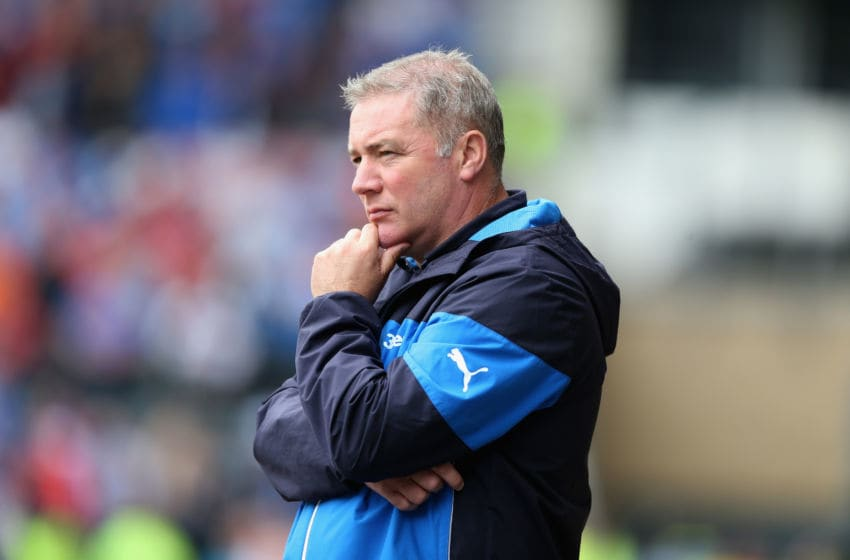 DERBY, ENGLAND - AUGUST 02: Ally McCoist, the Rangers manager, looks on during the pre season friendly match between Derby County and Rangers at iPro Stadium on August 2, 2014 in Derby, England. (Photo by David Rogers/Getty Images)