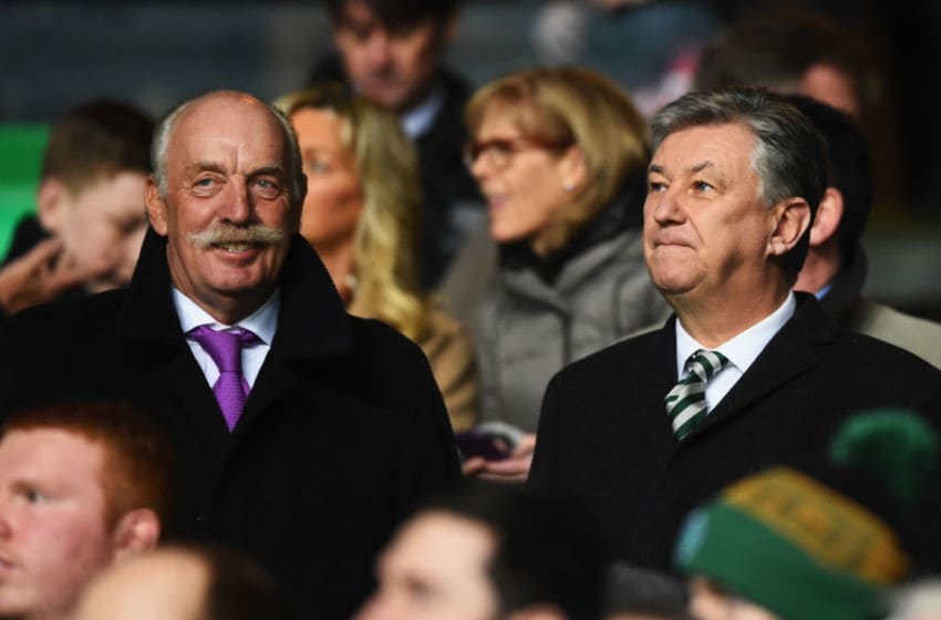 GLASGOW, SCOTLAND - FEBRUARY 19: Dermot Desmond (L) and Chief Executive of Celtic Peter Lawwell look on prior to the UEFA Europa League Round of 32 first leg match between Celtic FC and FC Internazionale Milano at Celtic Park Stadium on February 19, 2015 in Glasgow, United Kingdom. (Photo by Laurence Griffiths/Getty Images)