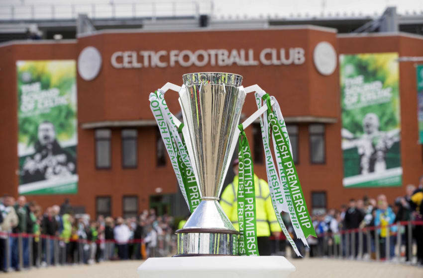 GLASGOW, SCOTLAND - MAY 24: The Premiership trophy on display in front of the stadium ahead of the Scottish Premiership match between Celtic and Inverness Caley Thistle at Celtic Park on May 24, 2015 in Glasgow, Scotland. (Photo by Jeff Holmes/Getty Images)
