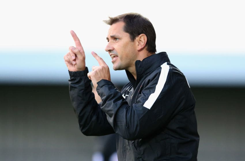 BARNET, ENGLAND - JULY 22: Jackie McNamara, the Dundee United manager shouts instructions during the pre season friendly match between Queens Park Rangers and Dundee United at The Hive on July 22, 2015 in Barnet, England. (Photo by David Rogers/Getty Images)