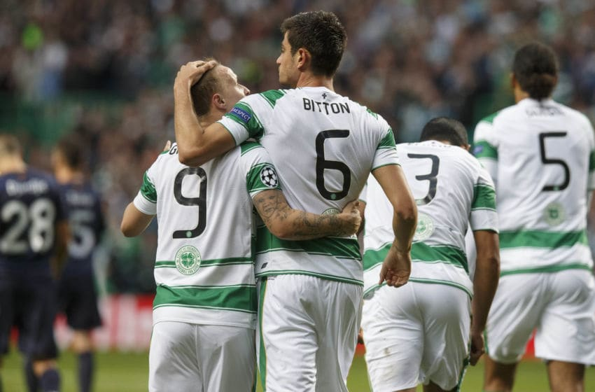 GLASGOW, SCOTLAND - AUGUST 19: Nir Bitton of Celtic celebrates with team-mate Leigh Griffiths after scoring his team's second goal during the UEFA Champions League Qualifying Round Play off First Leg match between Celtic and Malmo FF at Celtic Park on AUGUST 19, 2015 in Glasgow, Scotland. (Photo by Steve Welsh/Getty Images)