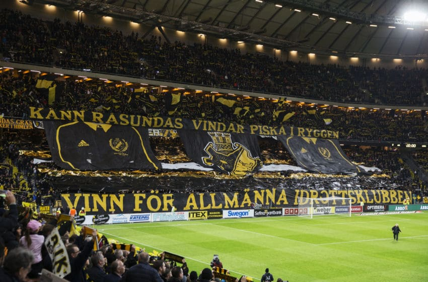 SOLNA, SWEDEN - OCTOBER 26: AIK fans during the Allsvenskan match between AIK and IFK Goteborg at the Friends arena on October 26, 2015 in Solna, Sweden. (Photo by Nils Petter Nilsson/Ombrello/Getty Images)