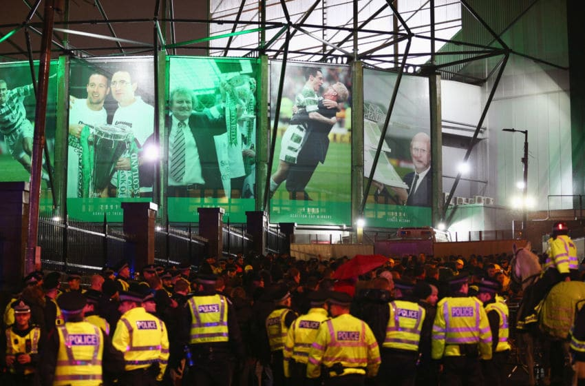 GLASGOW, SCOTLAND - NOVEMBER 26: Police patrol outside the stadium prior to the UEFA Europa League Group A match between Celtic FC and AFC Ajax at Celtic Park on November 26, 2015 in Glasgow, United Kingdom. (Photo by Mark Runnacles/Getty Images)