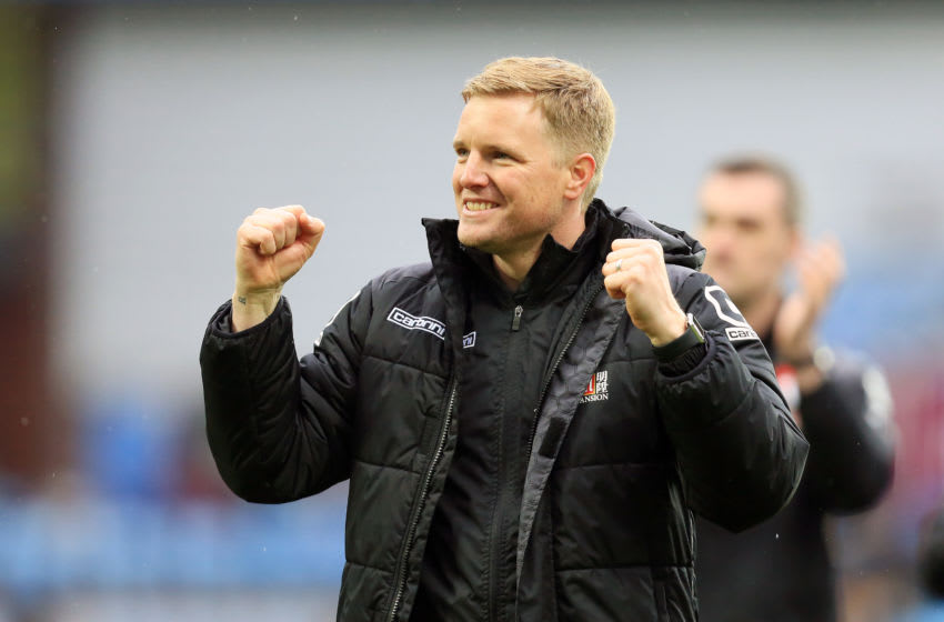 BIRMINGHAM, ENGLAND - APRIL 09: Eddie Howe manager / head coach of Bournemouth celebrates at full time after the Barclays Premier League match between Aston Villa and A.F.C. Bournemouth at Villa Park (Photo by James Baylis - AMA/Getty Images)