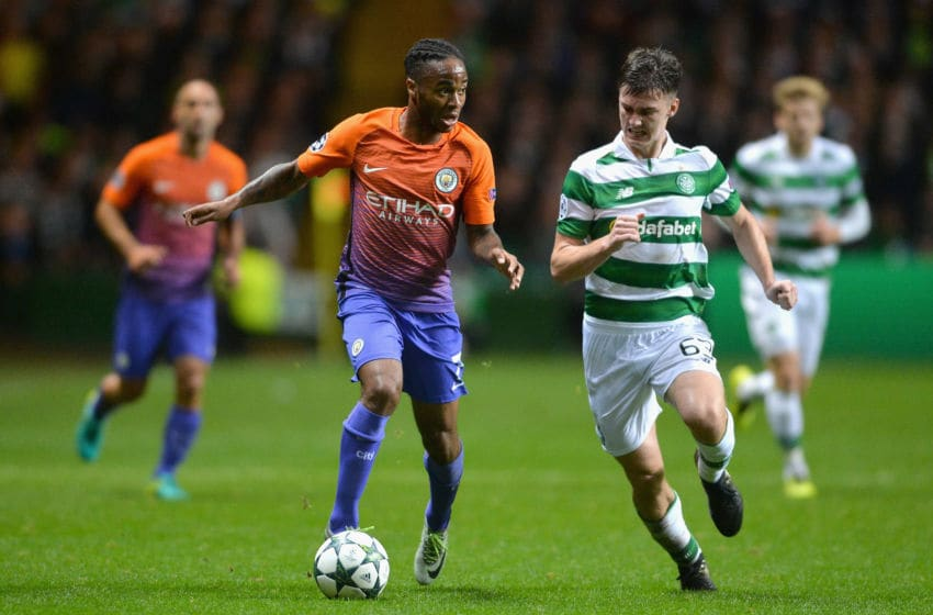 GLASGOW, SCOTLAND - SEPTEMBER 28: Raheem Sterling of Manchester City battles for the ball wity Kieran Tierney of Celtic during the UEFA Champions League group C match between Celtic FC and Manchester City FC at Celtic Park on September 28, 2016 in Glasgow, Scotland. (Photo by Mark Runnacles/Getty Images)