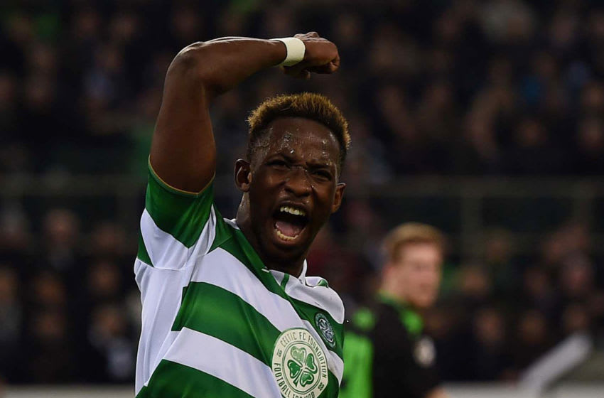 Celtic's French striker Moussa Dembele celebrates scoring the equalizer from the penalty spot during the UEFA Champions league Group C football match between Borussia Moenchengladbach and Celtic in Moenchengladbach, western Germany on November 1, 2016. / AFP PHOTO / PATRIK STOLLARZ (Photo credit should read PATRIK STOLLARZ/AFP via Getty Images)