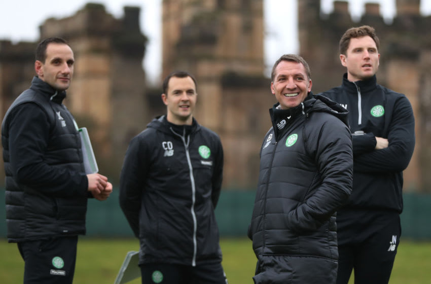 GLASGOW, SCOTLAND - DECEMBER 29: Celtic manager Brendan Rodgers looks on during a training session at Lennoxtown Training Centre on December 29, 2016 in Glasgow, Scotland. (Photo by Ian MacNicol/Getty Images)