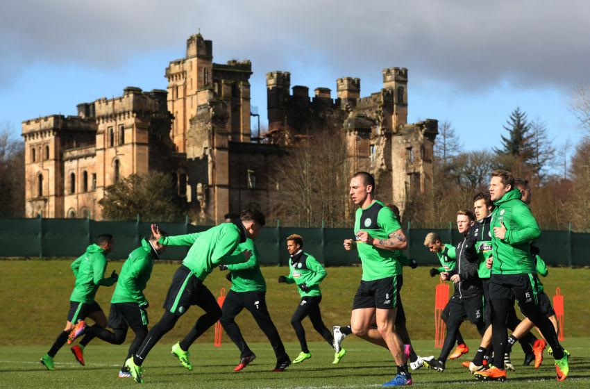GLASGOW, SCOTLAND - MARCH 09: Scott Brown of Celtic takes part in a Celtic training session at Lennoxtown Training Centre near Glasgow on March 9, 2017 in Glasgow, Scotland. (Photo by Ian MacNicol/Getty Images)