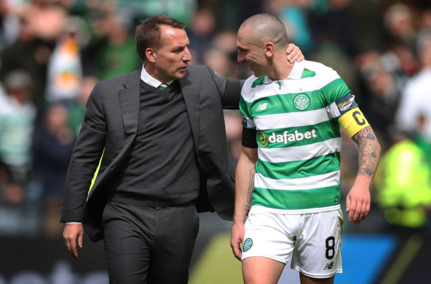 GLASGOW, SCOTLAND - APRIL 23: Scott Brown of Celtic and Celtic Manager Brendan Rodgers are seen during the William Hill Scottish Cup semi-final match between Celtic and Rangers at Hampden Park on April 23, 2017 in Glasgow, Scotland. (Photo by Ian MacNicol/Getty Images)