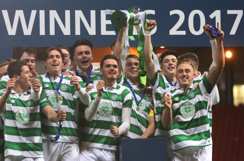 GLASGOW, SCOTLAND - APRIL 26: Sam Wardrop of Celtic lifts the trophy during The Scottish FA Youth Cup Final between Celtic and Rangers at Hampden Park on April 26, 2017 in Glasgow, Scotland. (Photo by Ian MacNicol/Getty Images)