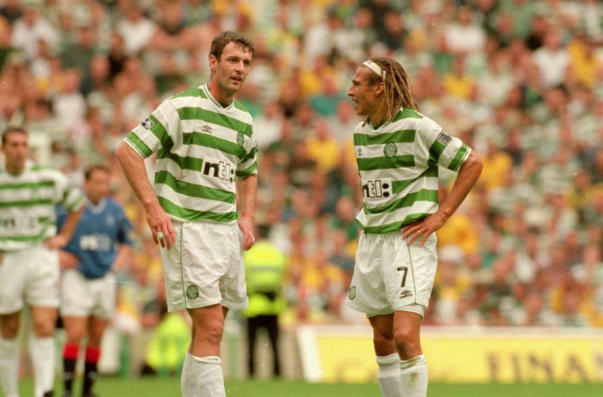 27 Aug 2000: Chris Sutton and Henrik Larsson of Celtic during the Scottish Premier League match against Rangers at Celtic Park in Glasgow, Scotland. Celtic won the game 6 - 2. Mandatory Credit: Stu Forster /Allsport