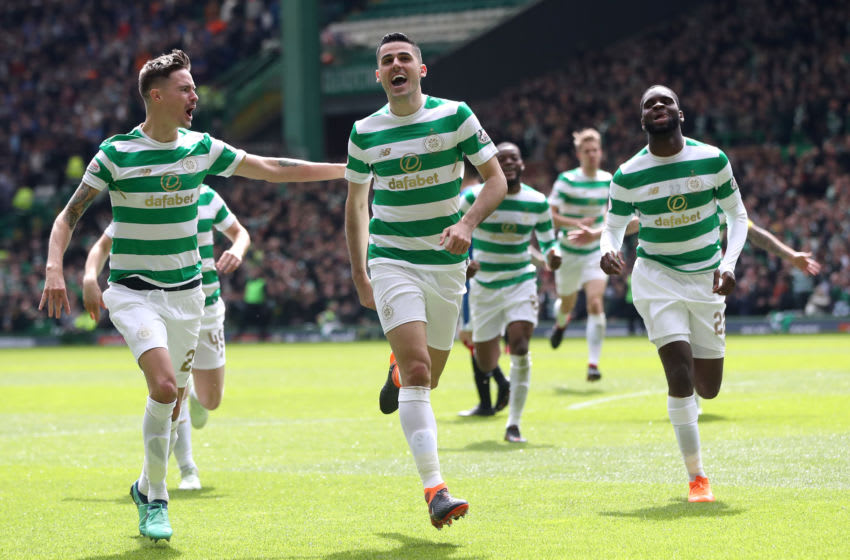 GLASGOW, SCOTLAND - APRIL 29: Tomas Rogic of Celtic celebrates after scoring his sides fourth goal with his team mates during the Scottish Premier League match between Celtic and Rangers at Celtic Park on April 29, 2018 in Glasgow, Scotland. (Photo by Ian MacNicol/Getty Images)