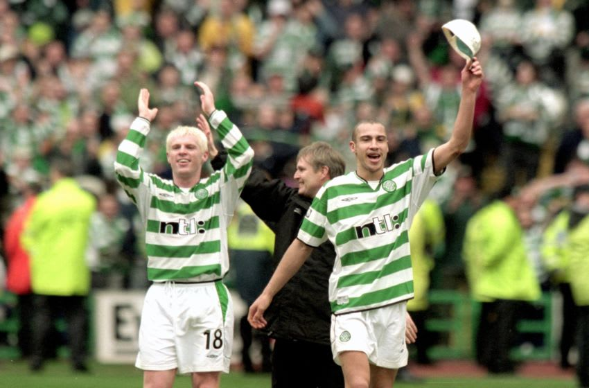 7 Apr 2001: Neil Lennon and Henrik Larsson (right) celebrate winning the Scottish Premier League Title after beating St Mirren at Celtic Park in Glasgow, Scotland. Celtic won the game 1 - 0. Mandatory Credit: Tom Shaw /Allsport