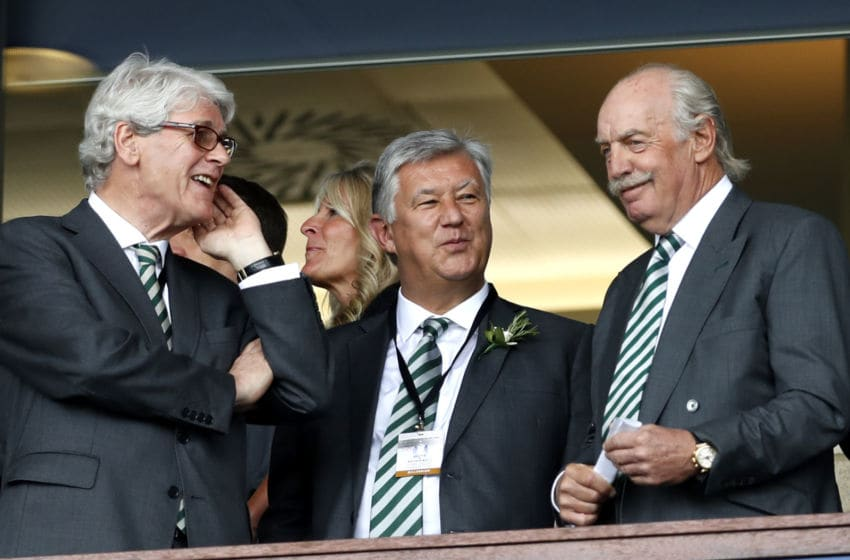 GLASGOW, SCOTLAND - MAY 19: Celtc owner Dermot Desmond and Celtic Chief Executive of Peter Lawwell (C) look on prior to the Scottish Cup Final between Motherwell and Celtic at Hampden Park on May 19, 2018 in Glasgow, Scotland. (Photo by Ian MacNicol/Getty Images)