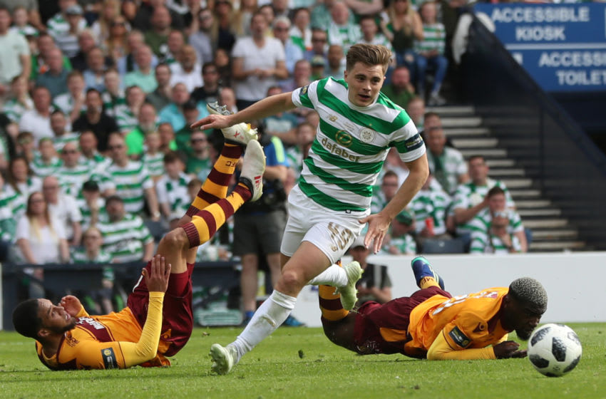 GLASGOW, SCOTLAND - MAY 19: James Forrest of Celtic controls the ball during the Scottish Cup Final between Celtic and Motherwell at Hampden Park on May 19, 2018 in Glasgow, Scotland. (Photo by Ian MacNicol/Getty Images)