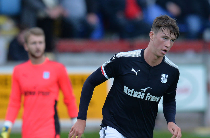 BRECHIN, SCOTLAND - JULY 11: Jack Hendry of Dundee in action during the pre season friendly between Brechin City and Dundee at Glebe Park on July 11, 2017 in Brechin, Scotland. (Photo by Mark Runnacles/Getty Images)