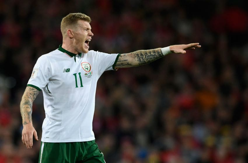 CARDIFF, UNITED KINGDOM - OCTOBER 09: Ireland player James McClean reacts during the FIFA 2018 World Cup Qualifier between Wales and Republic of Ireland at Cardiff City Stadium on October 9, 2017 in Cardiff, Wales. (Photo by Stu Forster/Getty Images)
