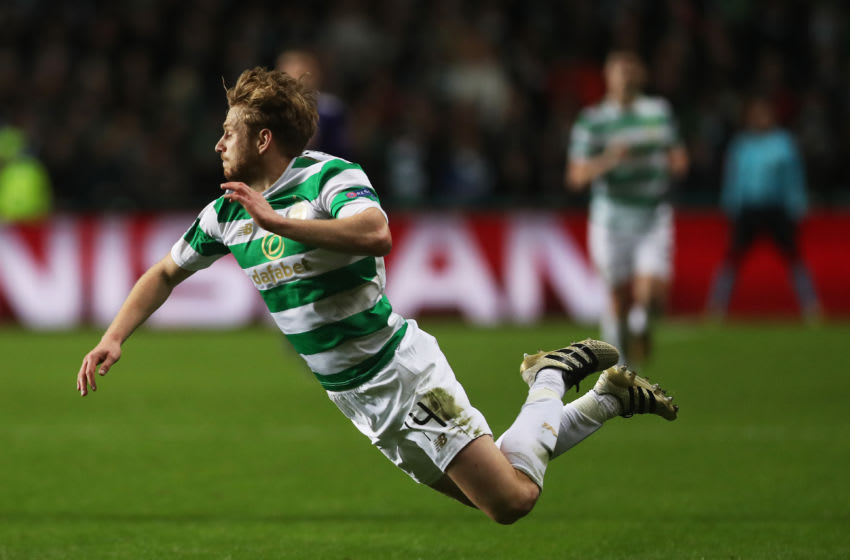 GLASGOW, SCOTLAND - DECEMBER 05: Stuart Armstrong of Celtic is brought down during the UEFA Champions League group B match between Celtic FC and RSC Anderlecht at Celtic Park on December 5, 2017 in Glasgow, United Kingdom. (Photo by Ian MacNicol/Getty Images)