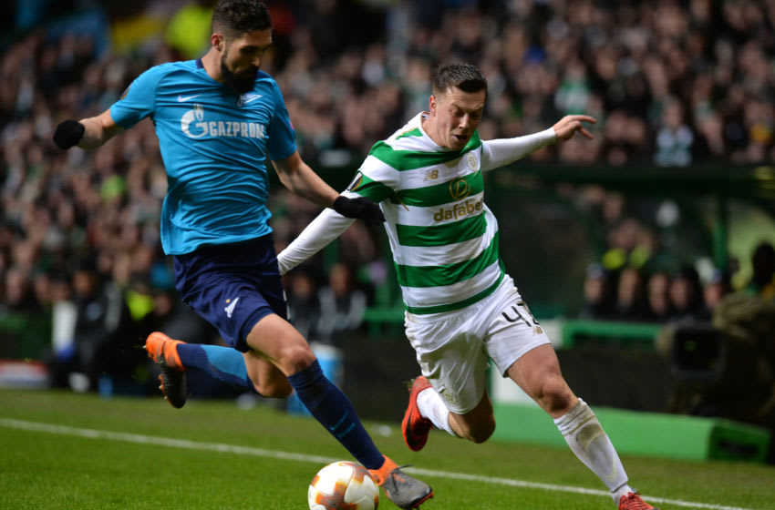 GLASGOW, SCOTLAND - FEBRUARY 15: Callum McGregor of Celtic and Miha Mevlja of Zenit St. Petersburg during UEFA Europa League Round of 32 match between Celtic and Zenit St Petersburg at the Celtic Park on February 15, 2018 in Glasgow, United Kingdom. (Photo by Mark Runnacles/Getty Images)