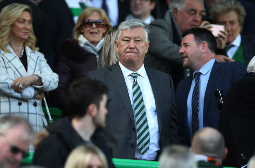 GLASGOW, SCOTLAND - MARCH 31: Celtic Chief Executive Peter Lawwell is seen during The Ladbrokes Scottish Premier League match between Celtic and Rangers at Celtic Park on March 31, 2019 in Glasgow, Scotland. (Photo by Ian MacNicol/Getty Images)