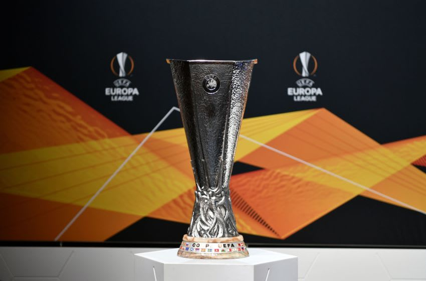 This picture shows the UEFA Europa League football cup trophy prior to the cup's round of 16 draw ceremony in Nyon on Febraury 28, 2020. (Photo by Fabrice COFFRINI / AFP) (Photo by FABRICE COFFRINI/AFP via Getty Images)