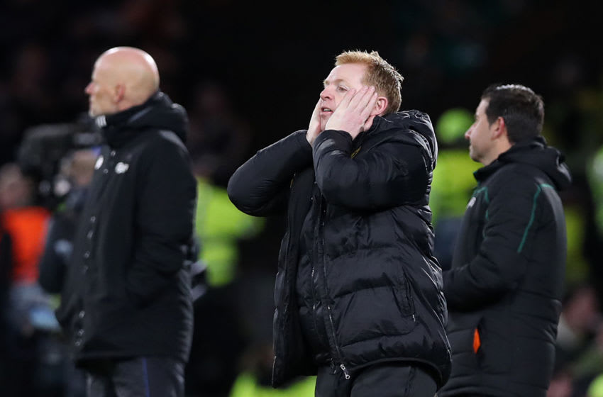 GLASGOW, SCOTLAND - FEBRUARY 27: Celtic Manager Neil Lennon reacts during the UEFA Europa League round of 32 second leg match between Celtic FC and FC Kobenhavn at Celtic Park on February 27, 2020 in Glasgow, United Kingdom. (Photo by Ian MacNicol/Getty Images)