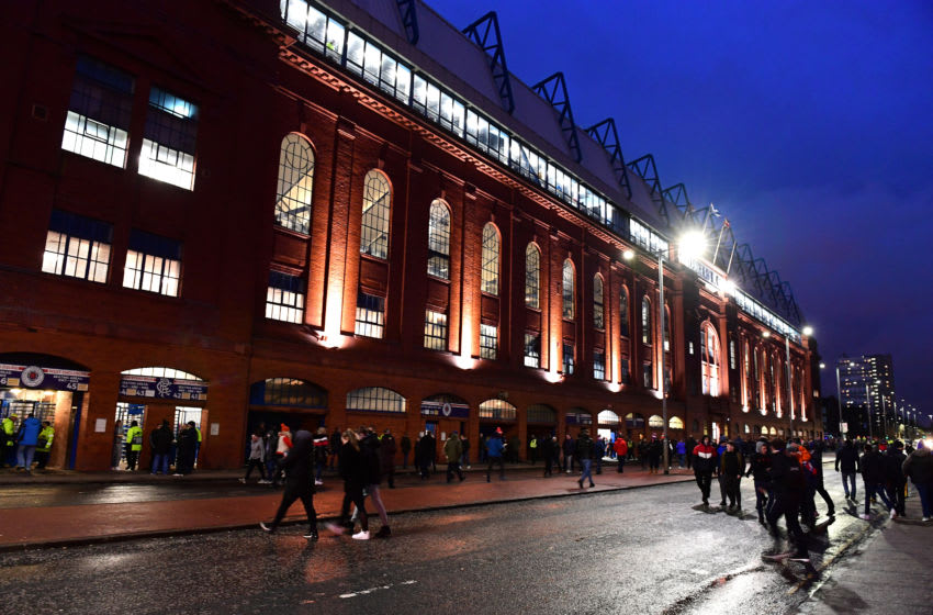 GLASGOW, SCOTLAND - MARCH 12: General view outside the stadium prior to the UEFA Europa League round of 16 first leg match between Rangers FC and Bayer 04 Leverkusen at Ibrox Stadium on March 12, 2020 in Glasgow, United Kingdom. (Photo by Mark Runnacles/Getty Images)