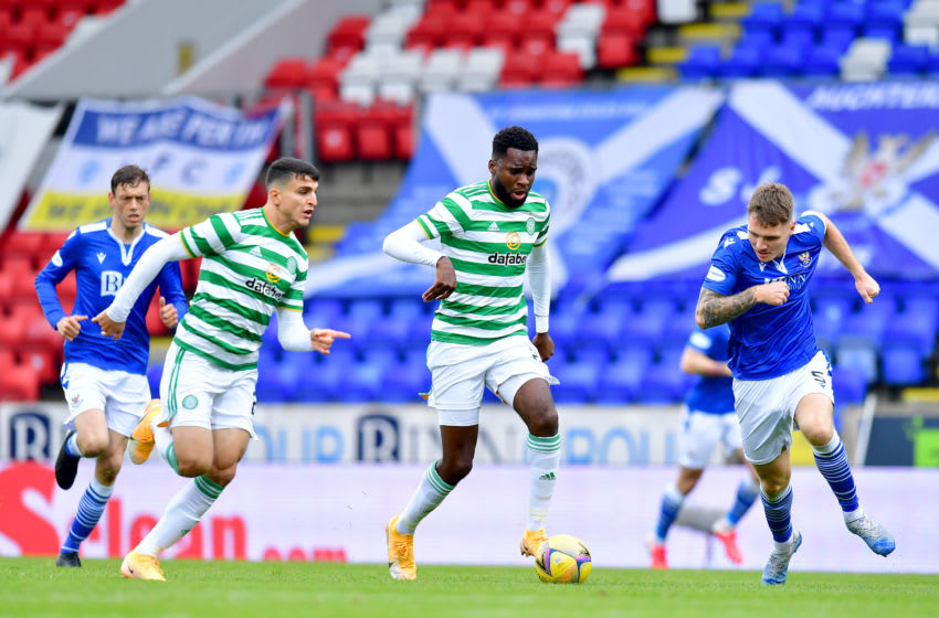 PERTH, SCOTLAND - OCTOBER 04: Odsonne Edouard of Celtic breaks free from the St. Johnstone defence during the Ladbrokes Scottish Premiership match between St. Johnstone and Celtic at McDiarmid Park on October 04, 2020 in Perth, Scotland. (Photo by Mark Runnacles/Getty Images)