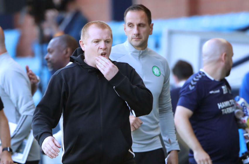 KILMARNOCK, SCOTLAND - AUGUST 09: Neil Lennon of Celtic reacts after the Ladbrokes Scottish Premiership match between Kilmarnock and Celtic at Rugby Park on August 09, 2020 in Kilmarnock, Scotland. (Photo by Ian MacNicol/Getty Images)