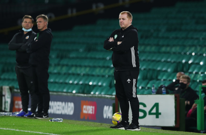 GLASGOW, SCOTLAND - AUGUST 18: Neil Lennon of Celtic looks on during the UEFA Champions League: First Qualifying Round match between Celtic and KR Reykjavik at Celtic Park on August 18, 2020 in Glasgow, Scotland. (Photo by Ian MacNicol/Getty Images)