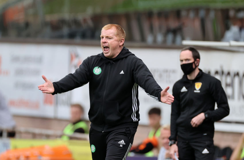 DUNDEE, SCOTLAND - AUGUST 22: Neil Lennon, Manager of Celtic reacts during the Ladbrokes Scottish Premiership match between Dundee United and Celtic at Tannadice Park on August 22, 2020 in Dundee, Scotland. (Photo by Steve Welsh/Pool via Getty Images)
