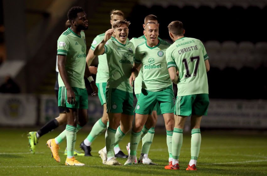 PAISLEY, SCOTLAND - SEPTEMBER 16: James Forrest of Celtic celebrates with teammates after scoring his team's second goal during the Ladbrokes Scottish Premiership match between St. Mirren and Celtic at The Simple Digital Arena on September 16, 2020 in Paisley, Scotland. (Photo by Ian MacNicol/Getty Images)